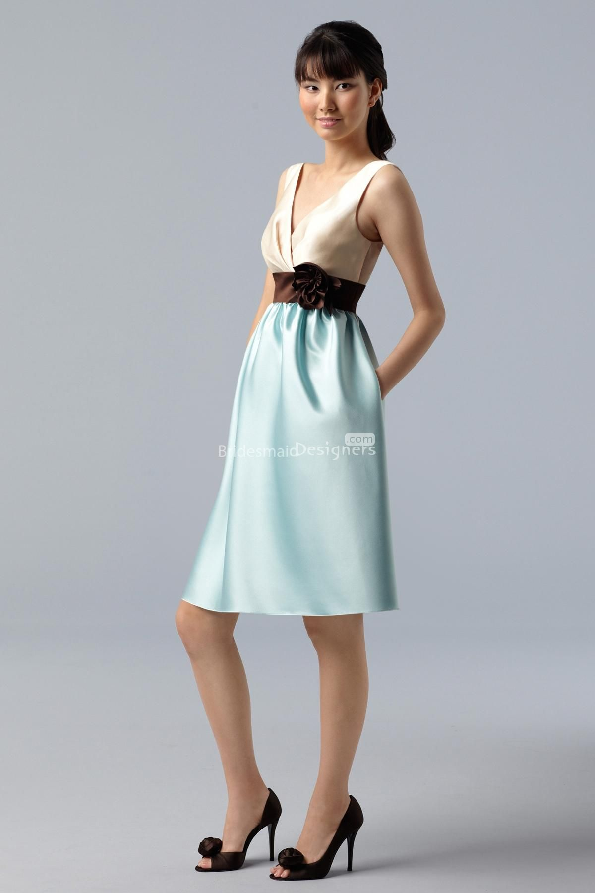 funky two-tone sleeveless v-neck knee-length a-line satin bridesmaid ...
