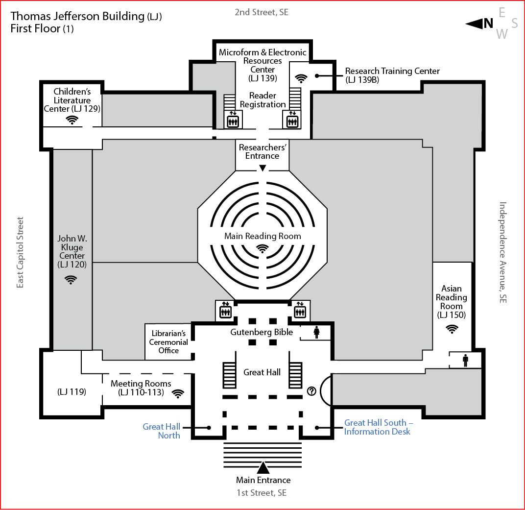 Gutenberg Bible Exhibitions And Visit Highlights Maps Floor Plans Visiting The Library Library Of Congre Library Plan Floor Plans How To Plan