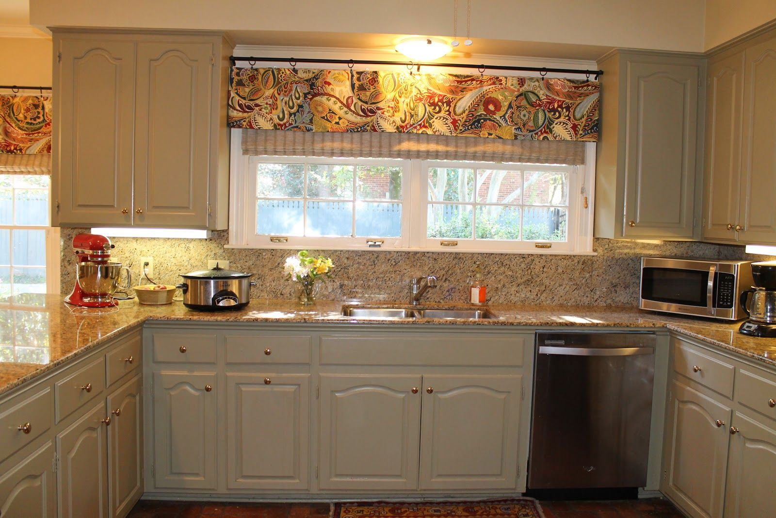 Kitchen window ideas  kitchen fabulous brown fabric over valance  home decor  pinterest