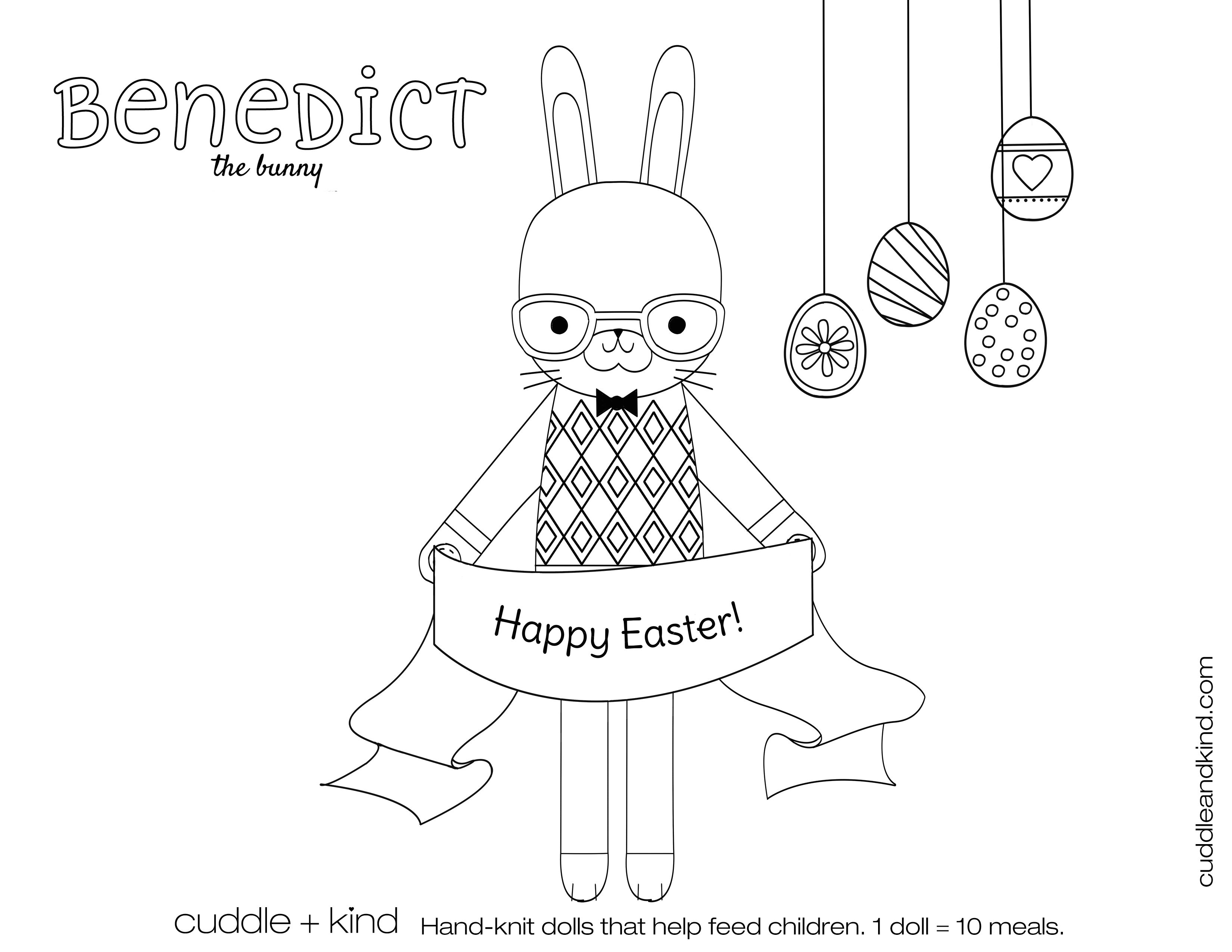 cuddle+kind benedict the bunny colouring sheet. www.cuddleandkind ...