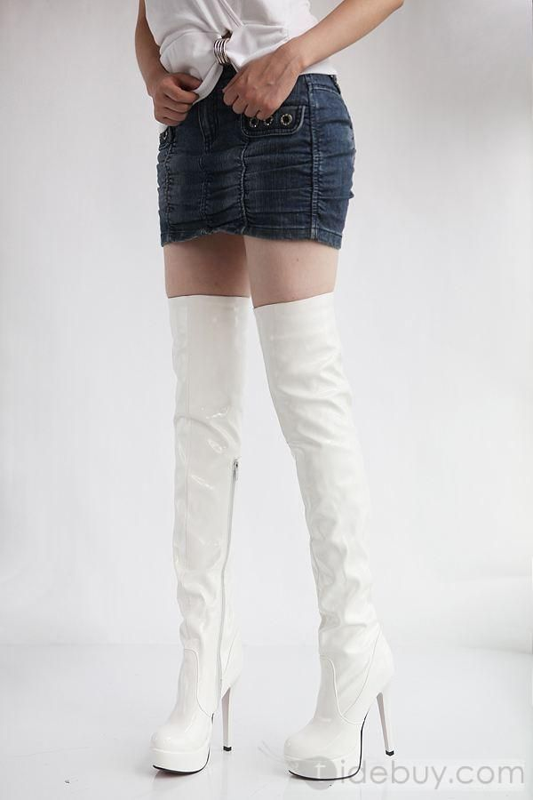 Fancy White Knee High Boots | White