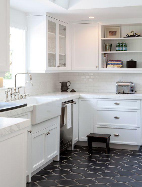 Small Kitchen With Grey Limestone Floor Tiles Flooring Ideas Floor Design Trends Tile Floor Flooring Trends Flooring