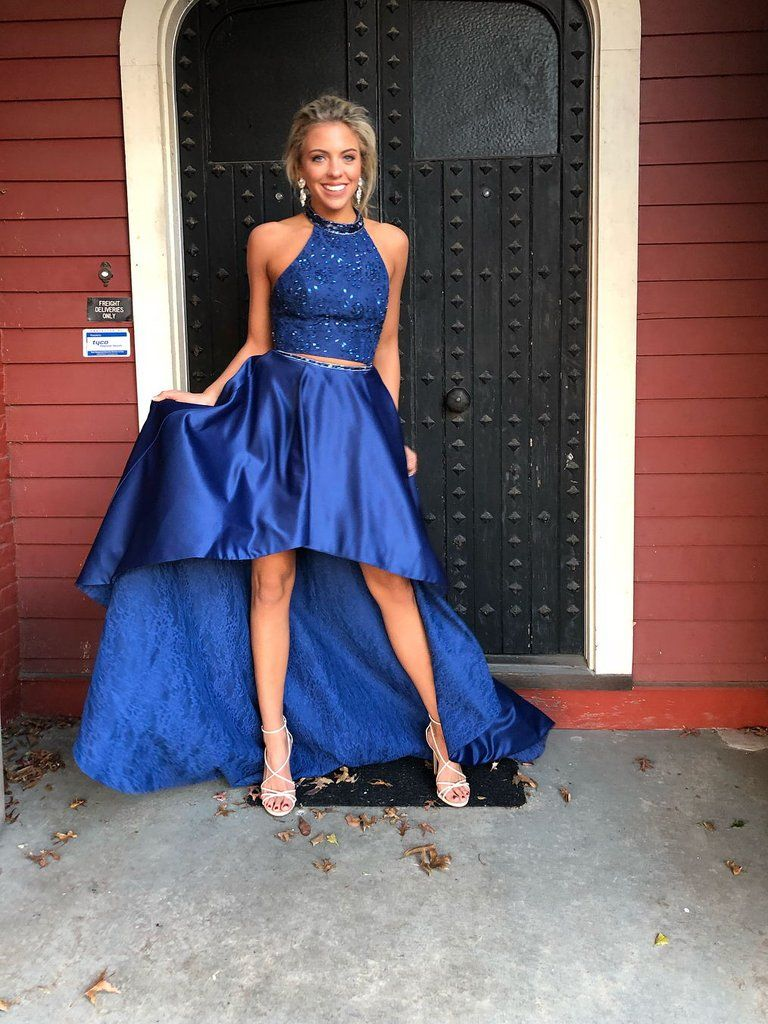 Two piece prom dresses halter a line lace long high neck prom dress