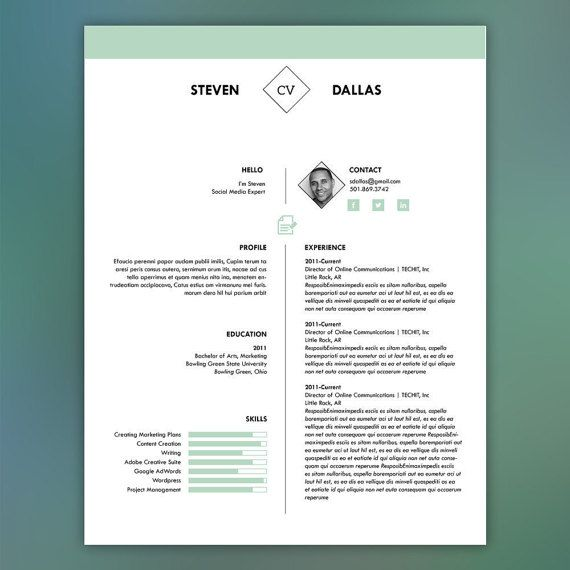 One Page Photo Resume Template with Matching Cover Letter Mint - professional resume templates for microsoft word