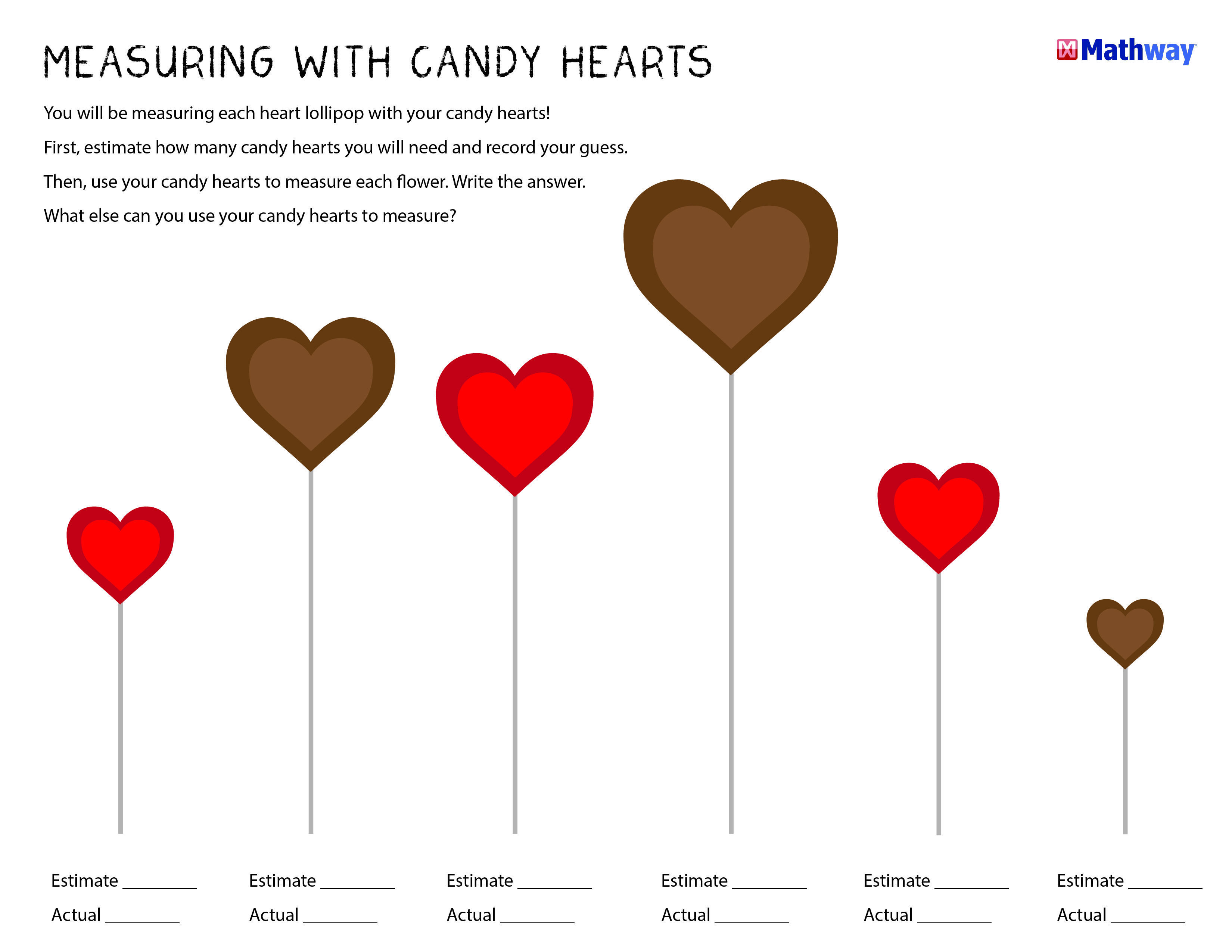 Measuring With Candy Hearts Activity Sheet Perfect For In