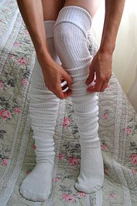 $12  I love these scrunchable super-long white socks! They look do warm!