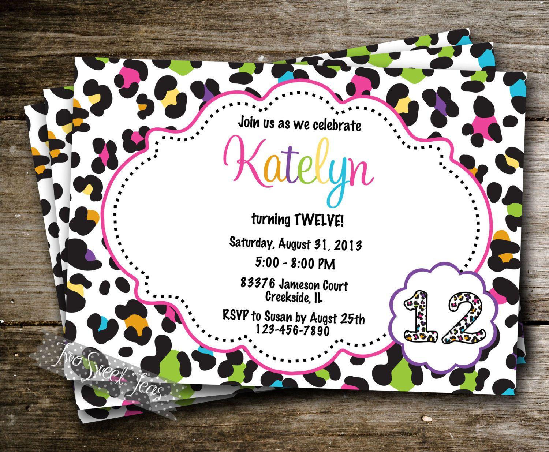 Cheetah Polka Dot Girly Girl Birthday Party Invite by 2SweetTeas ...