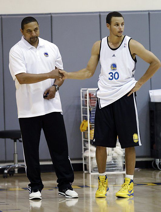 reputable site a4c60 f7c25 Coach Mark Jackson with the great Steph Curry - GO WARRIORS ...