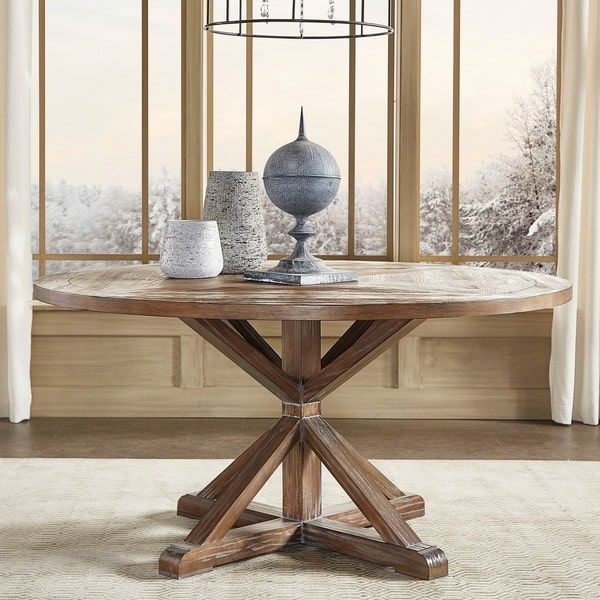 Q Bar And Kitchen: Benchwright Rustic X-base Round Pine Wood Dining Table By