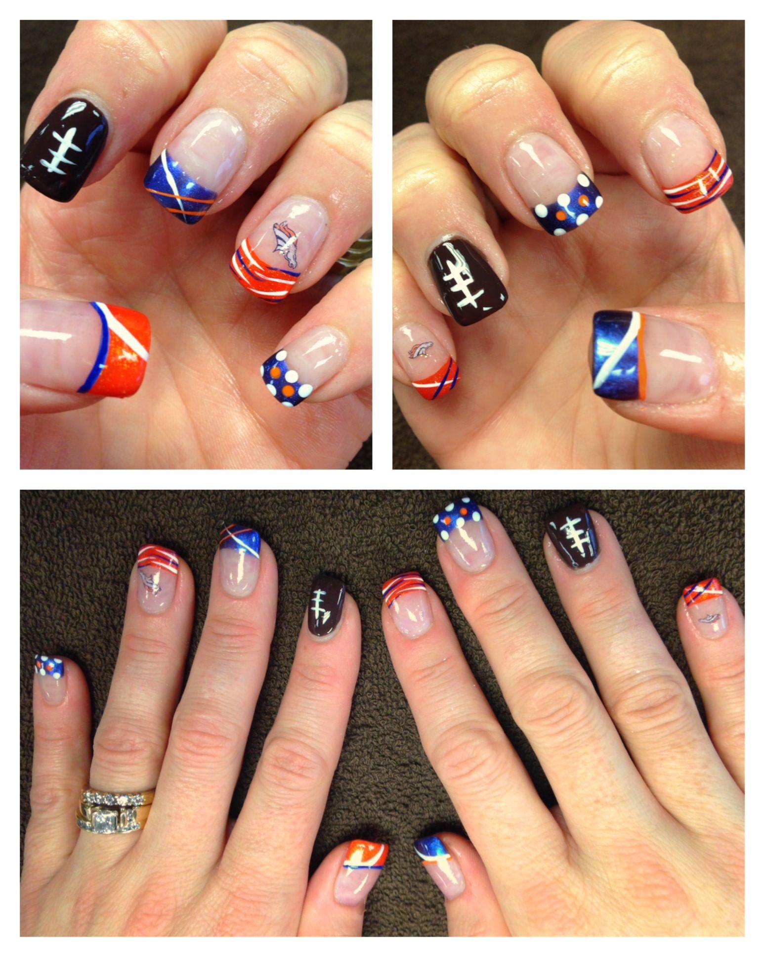 My acrylic nails for Super Bowl 48! GO BRONCOS!!! Nail art, Denver ...