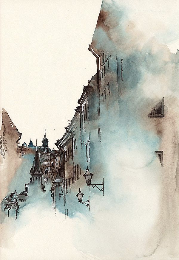 Skomakargatan The Shoemaker Street Watercolor Architecture