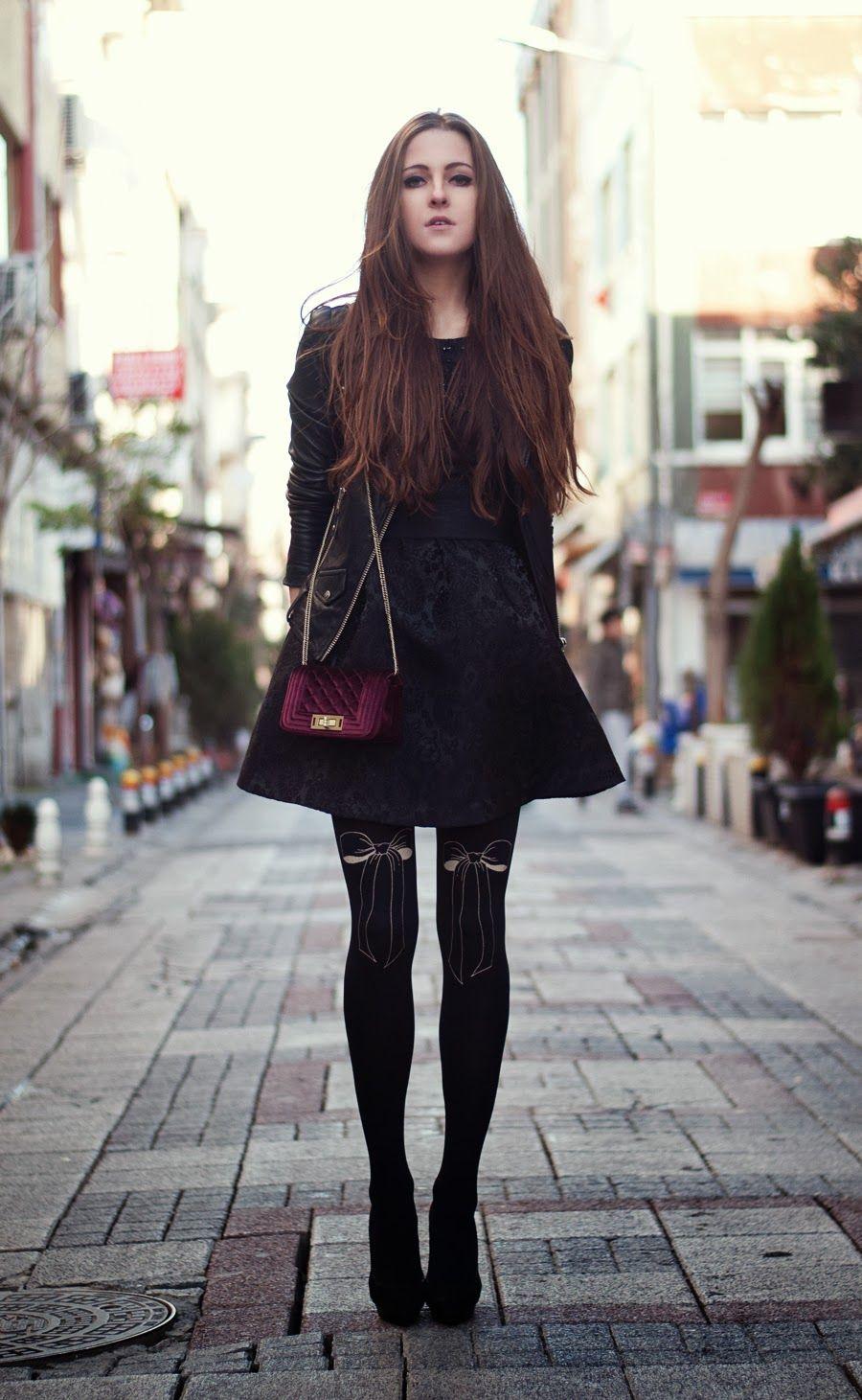 pattern black tights with black dress - HD900×1461