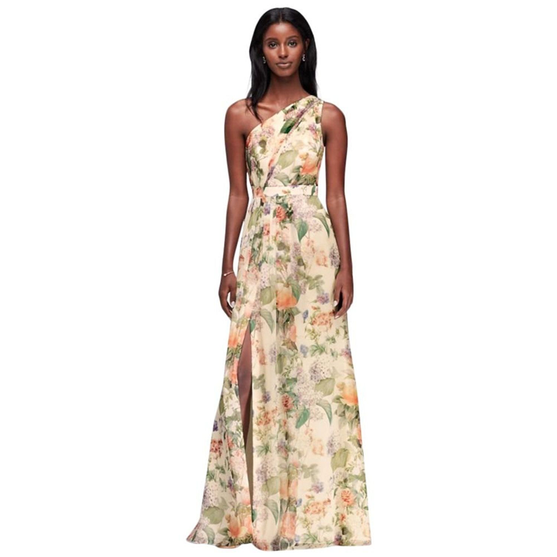 Long one shoulder printed chiffon bridesmaid dress style fp