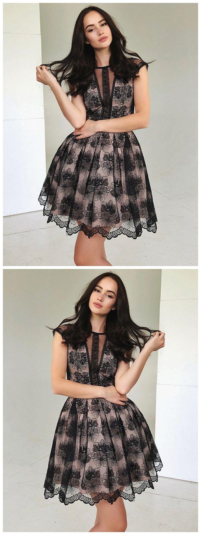 Aline black lace short prom dress scoop short prom dresses cheap