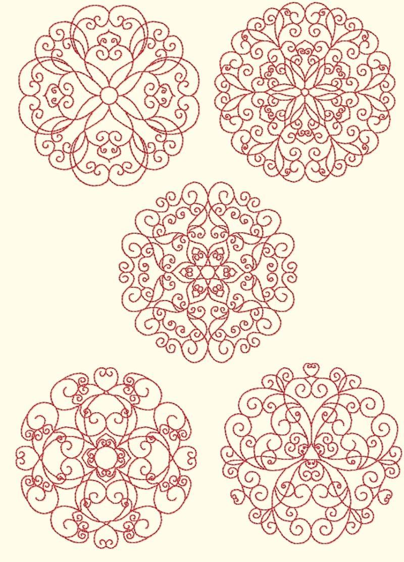 Redwork designs by Murphy   bordado   Pinterest   Mandalas, Bordado ...