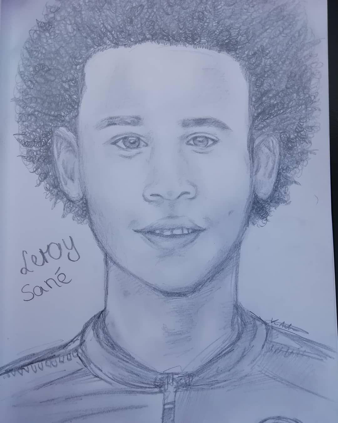 Ls19 Leroy Sane Fcb Mancity Drawing Fussball Zeichnen Malen Real Fussballer Mydraw Insane Drawings Male Sketch Art