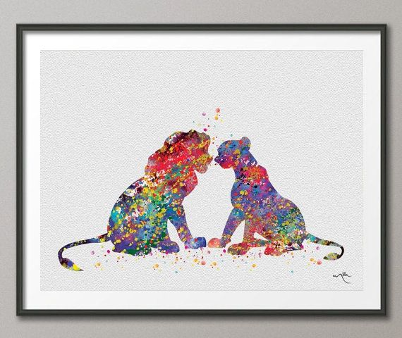 Simba And Nala From The Lion King Watercolor Art Print Wall Art Poster Home  Decor Giclee Wall Decor Art Home Decor Wall Hanging [NO 251]