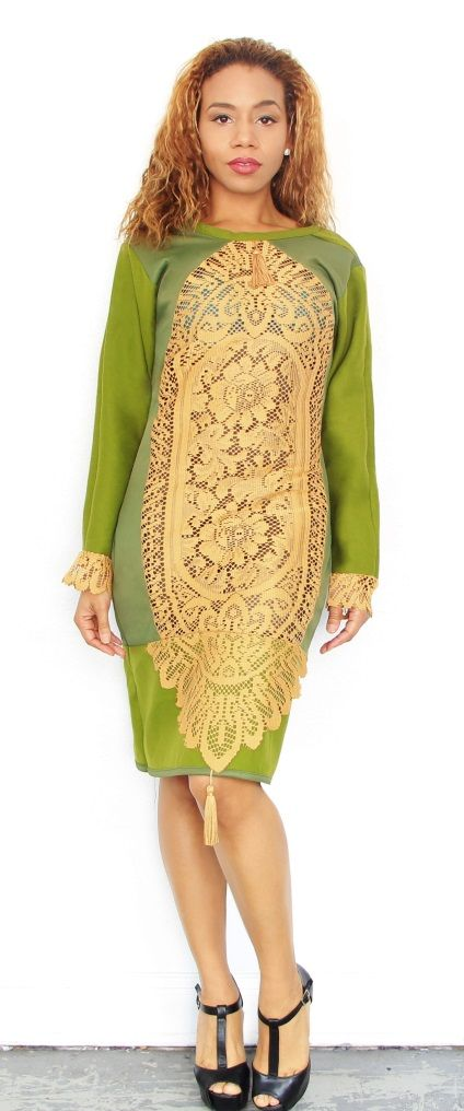 3rdeye Brand Kelly Green with Gold lacing It's the Temple Dress Designed By JEAN FREDELING