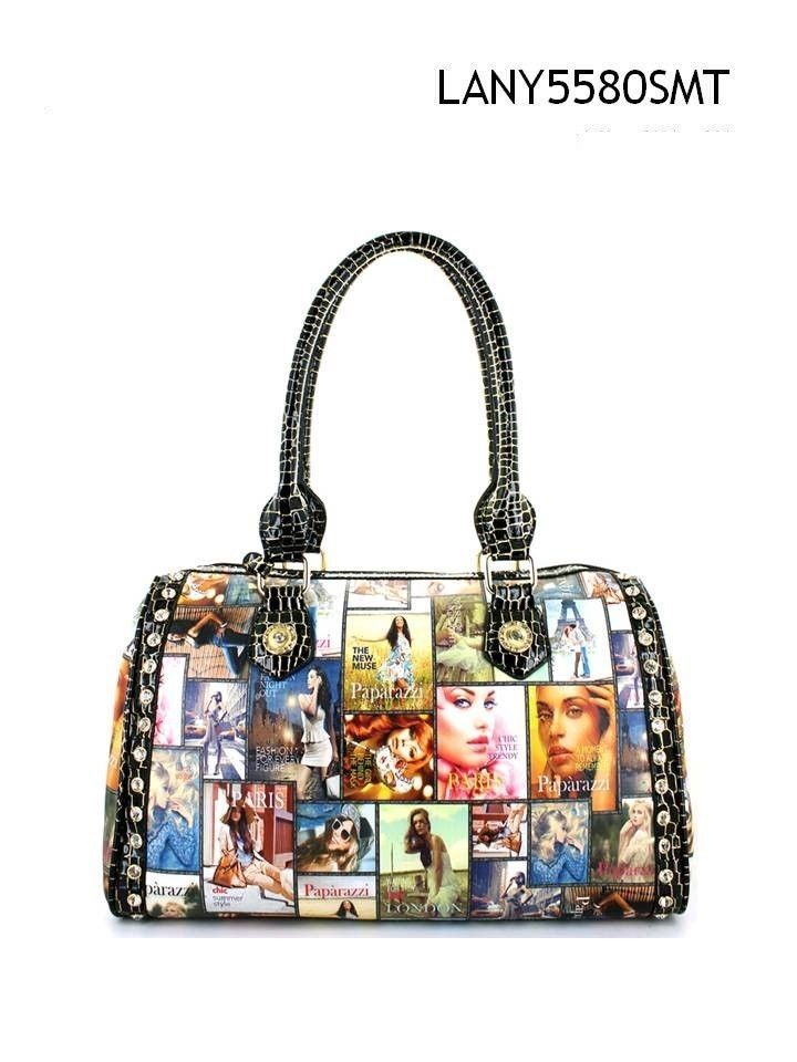 Nwt Lany Paparazzi Magazine Print Shoulder Handbag Celebrity Style Large Purse Lanypaparazzi Shoulderbag