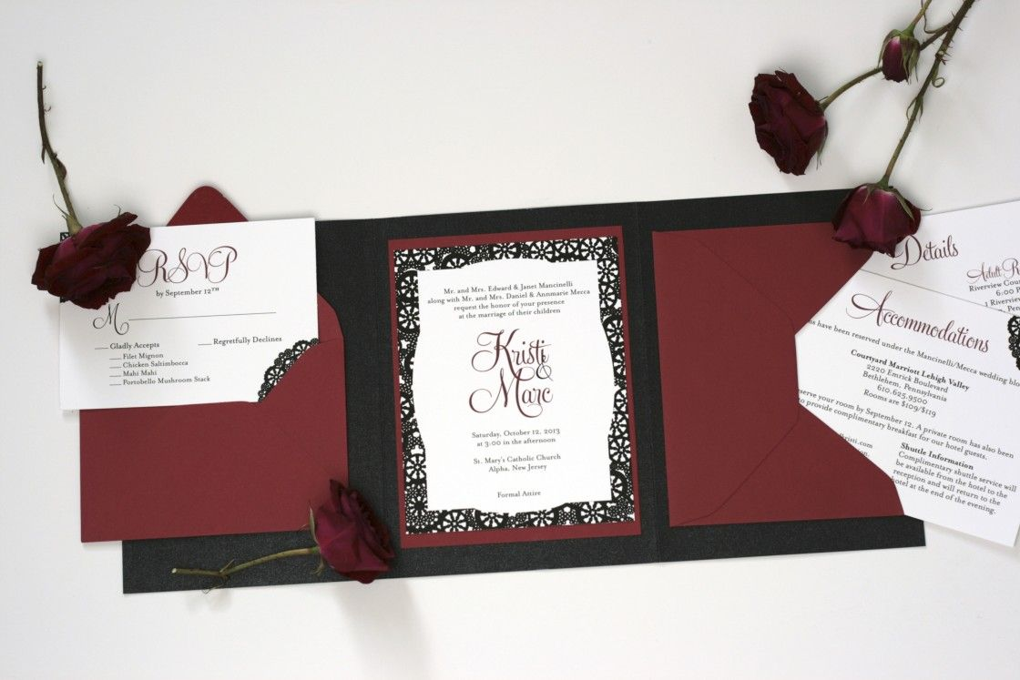 black and maroon vintage wedding invitation with maroon rose
