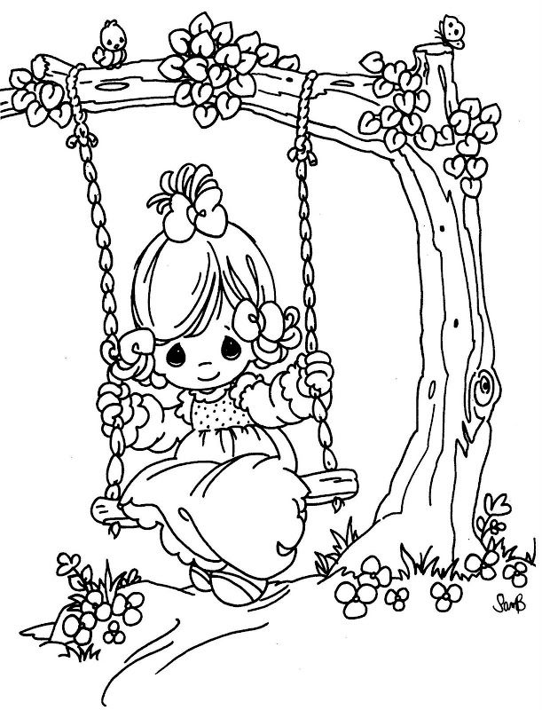 swing in a tree precious moments coloring