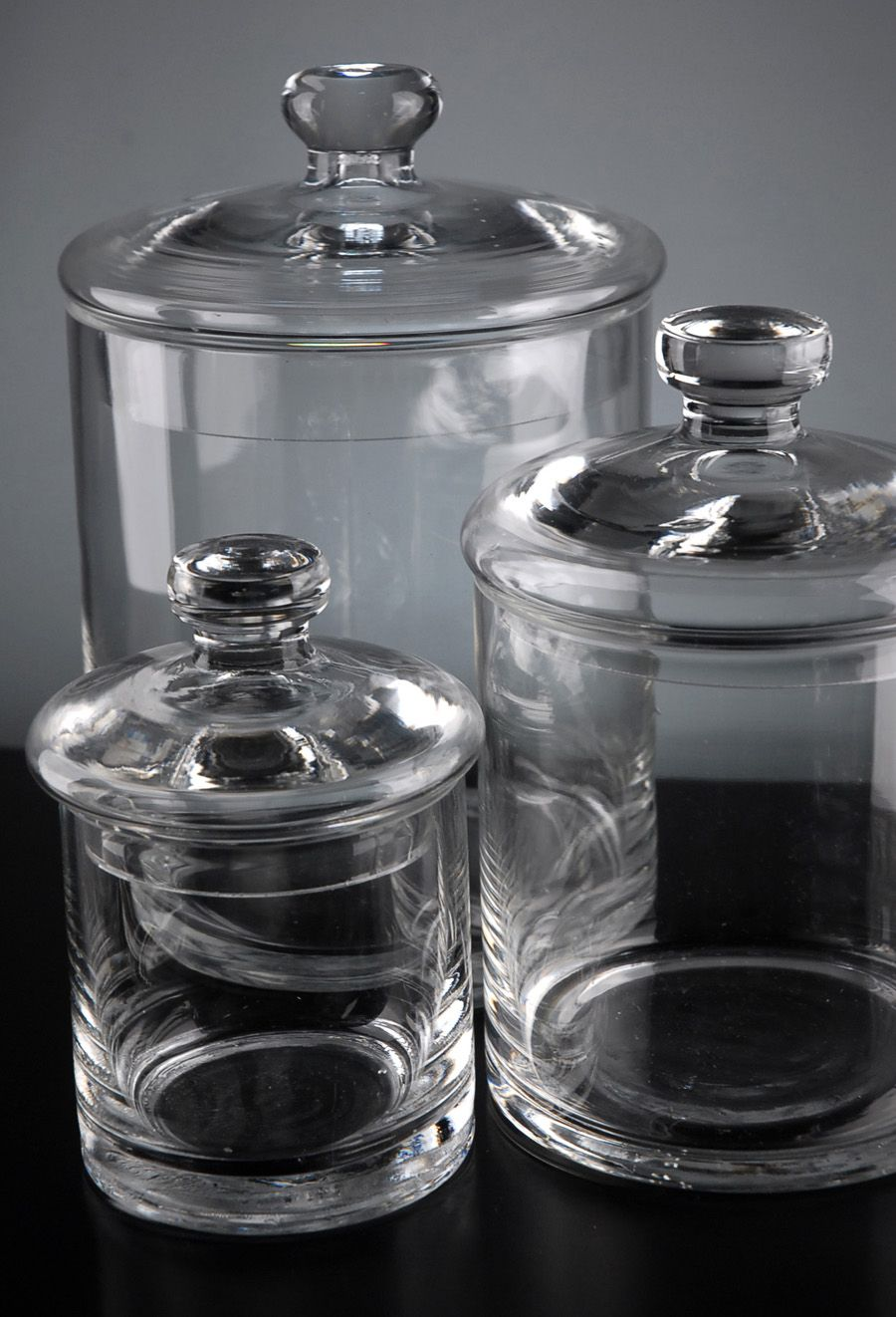 Set Of 3 Clear Glass Apothecary Canister Jars 5 7 9 Glass Canisters