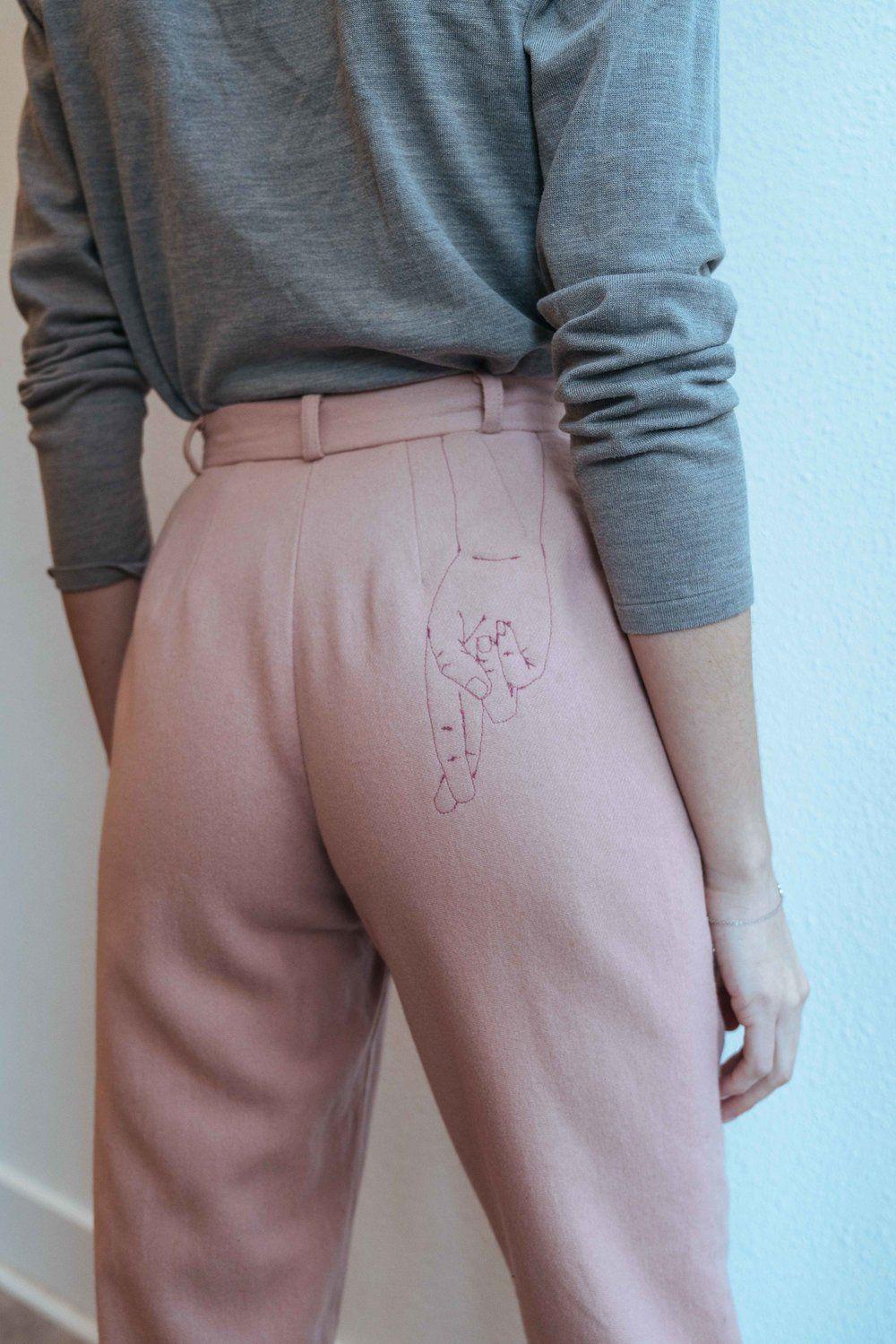 Custom Emroidered Finger-Crossed Pants BACKTALK Clothing & Jewelry -