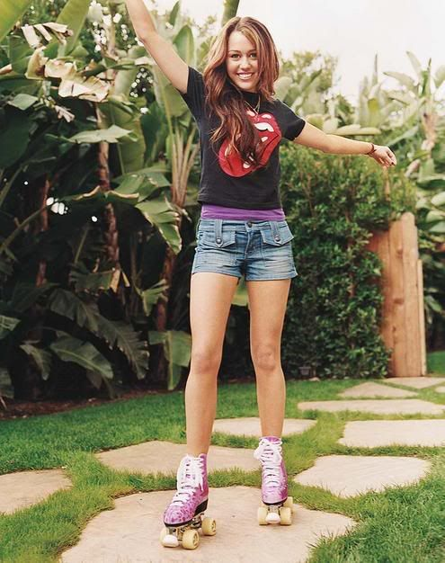 Miley Cyrus Roller Skates Outfit