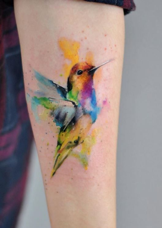 Watercolor Bird Tattoo | Watercolor bird and Watercolor