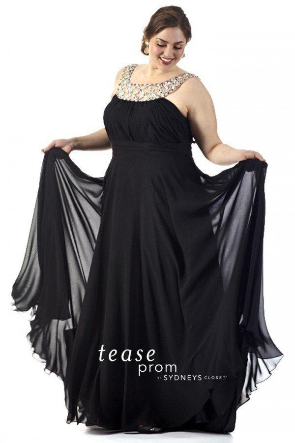 Sydneys Closet Tease Prom Dress Te1511 Black With Bling Straps Sz