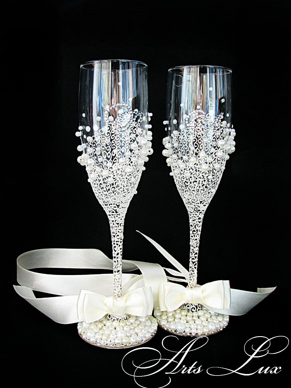 Personalized wedding champagne glasses in ivorywhitehand painted