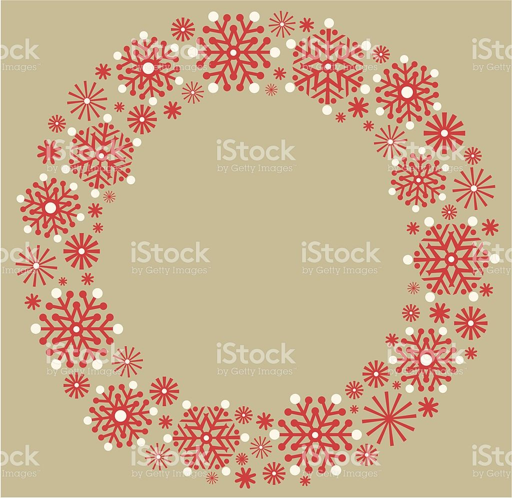 Snowflake Christmas wreath in silhouette on a gold