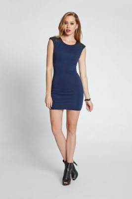 Cap-Sleeve Quilted Faux-Leather Body-Con Dress | GUESS.com