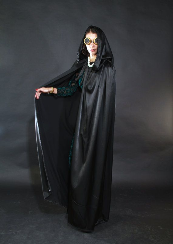e9ec5ce27bf black satin long cape robe with big hood and no sleeves Halloween cape and  high fashion style.