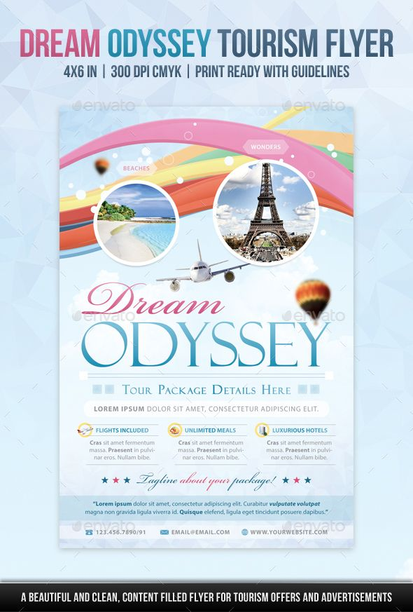 Dream Odyssey Tourism Flyer Template Psd Flyer Templates Pinterest