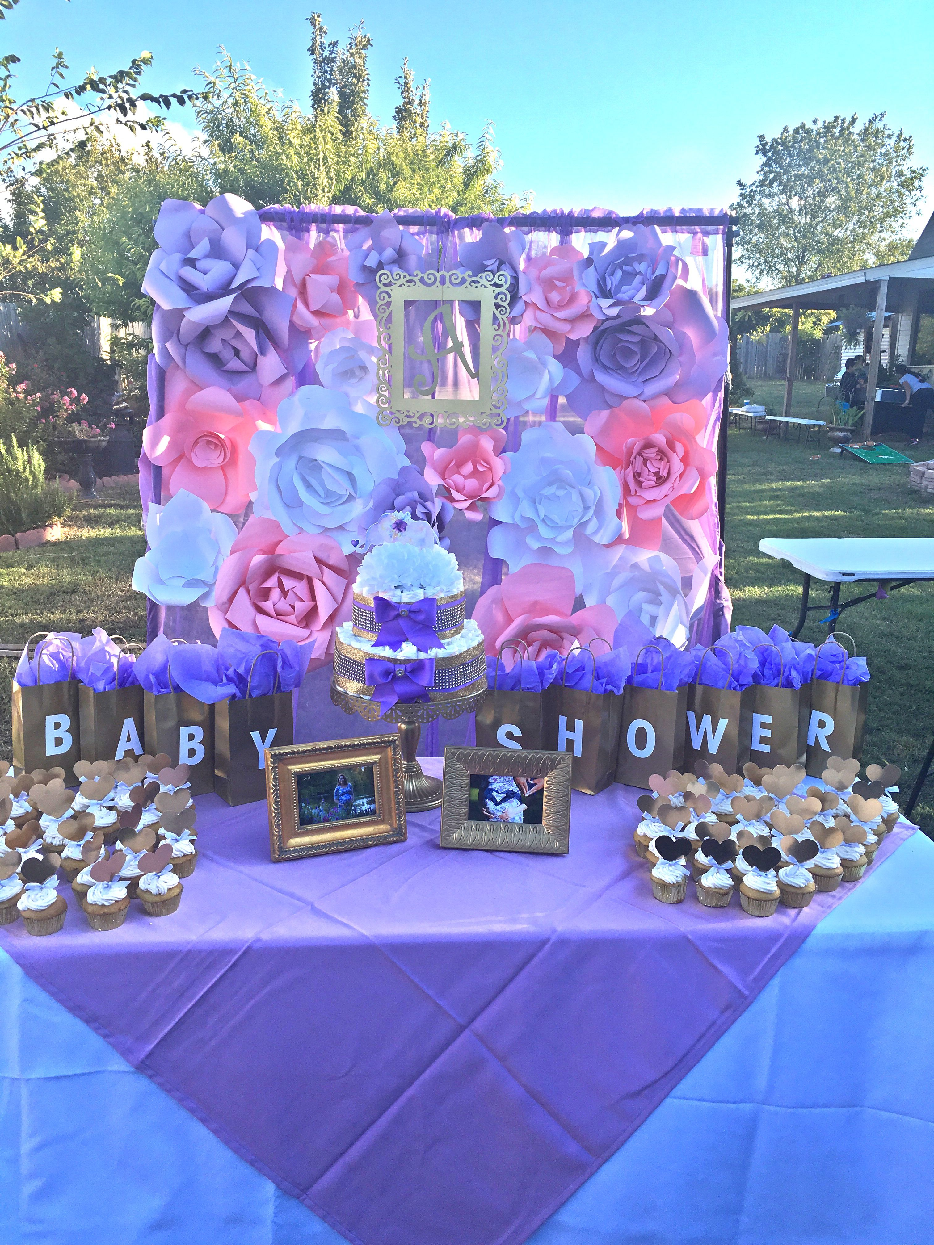 Lilac gold pink white baby shower decorations watercolor