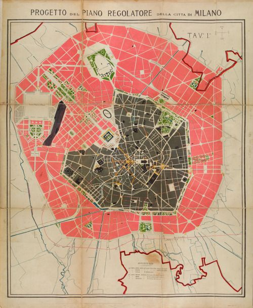 Urban projects map of Milan 1884 artwork Pinterest