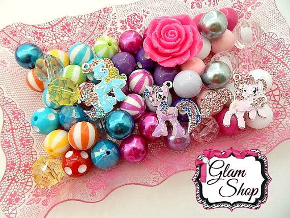 My Little Pony Bead Kit DIY Chunky Bead Necklace by GlamShopBeads