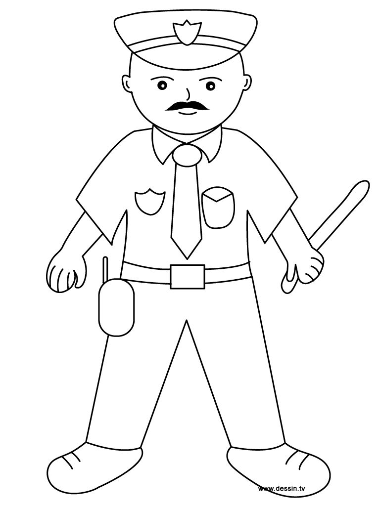 Coloring Policeman | Education | Coloriage, Dessin a ...