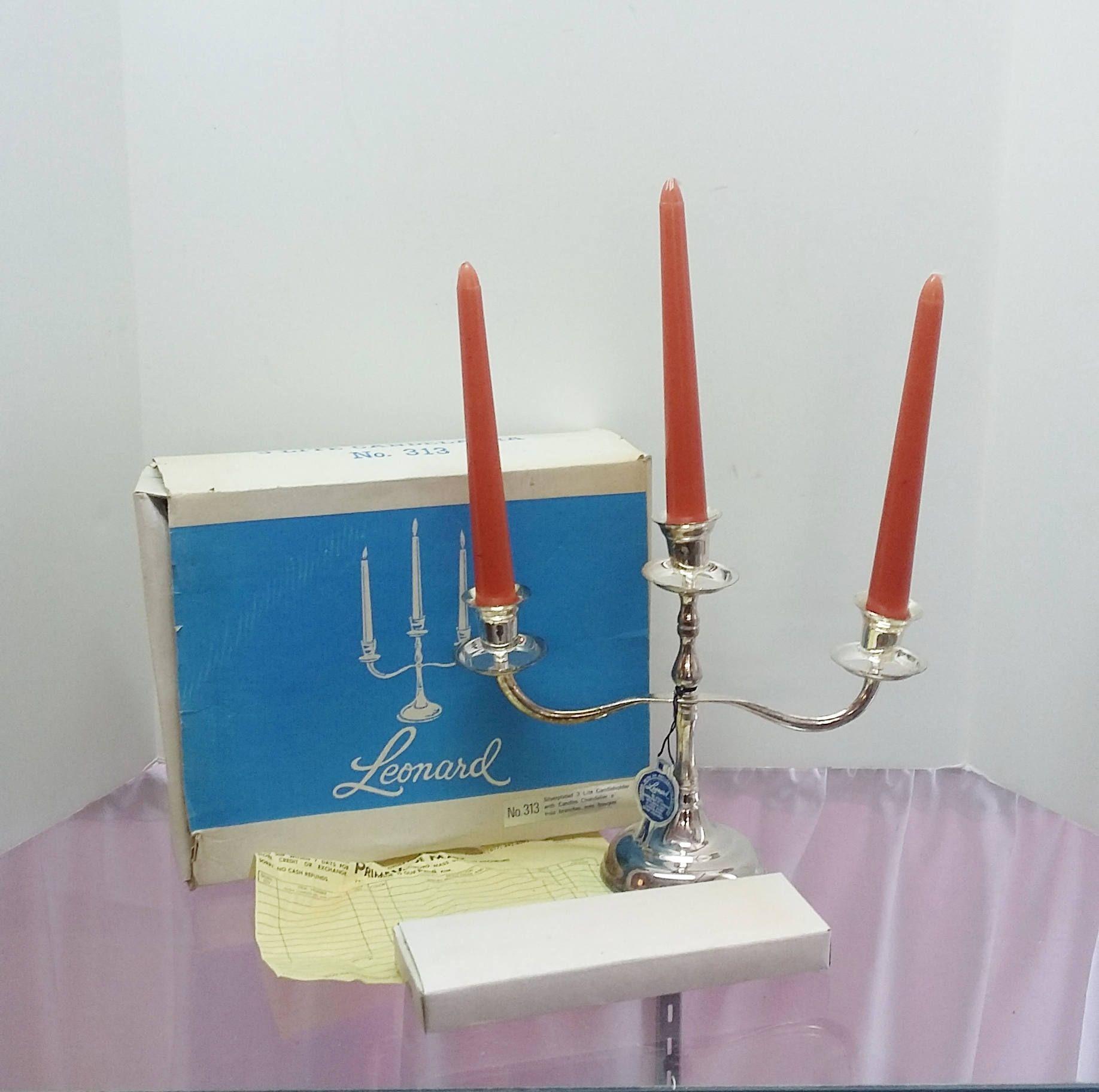 Vintage candelabra leonard silver plated lite candleholder with