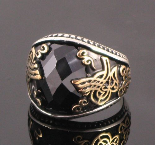 925 Sterling Silver Ottoman Tugra Designed Men Rings With