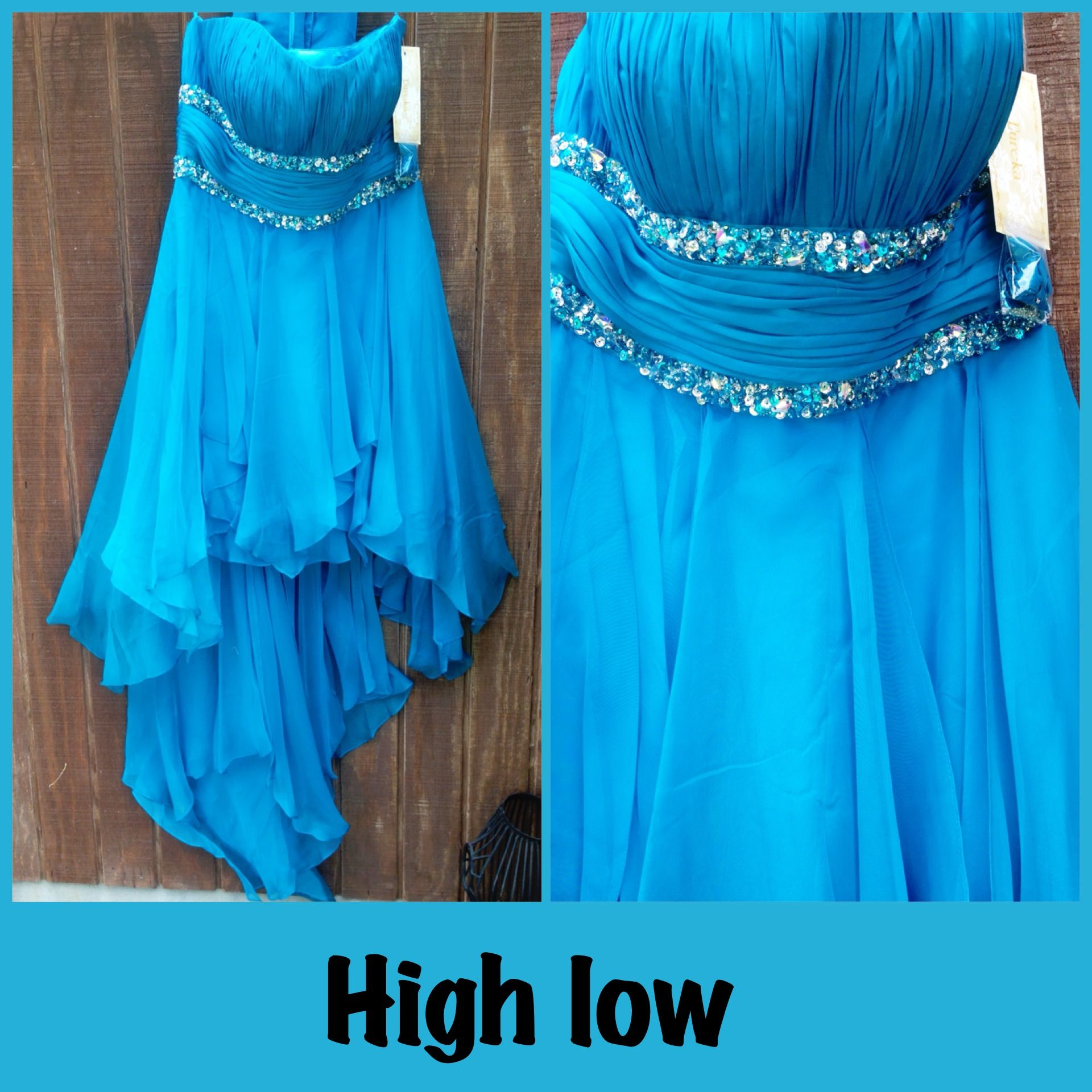 Turquoise blue high low semi formal homecoming sweethearts dress ...