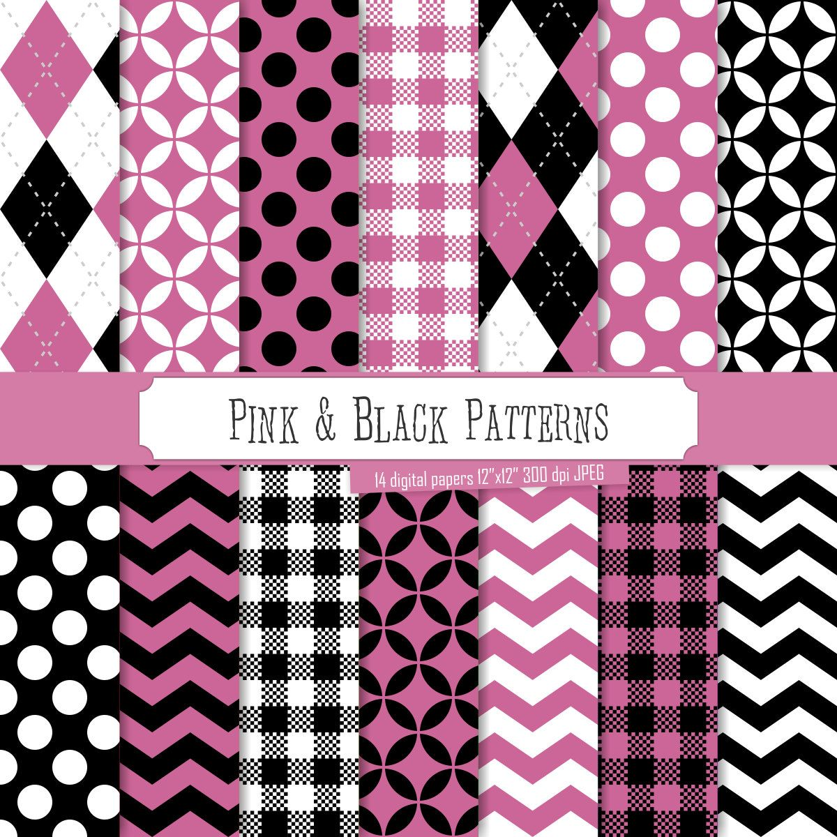 Buy 2 Get 1 Free! Digital Paper Pink & Black Patterns ...