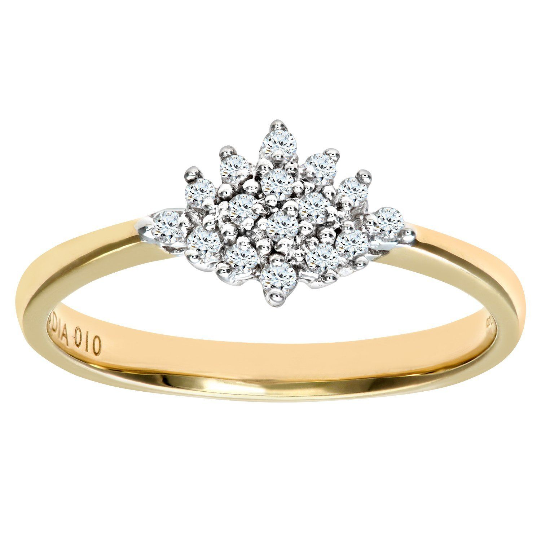Naava 9ct Yellow Gold Diamond Cluster Ladies Ring Beautiful