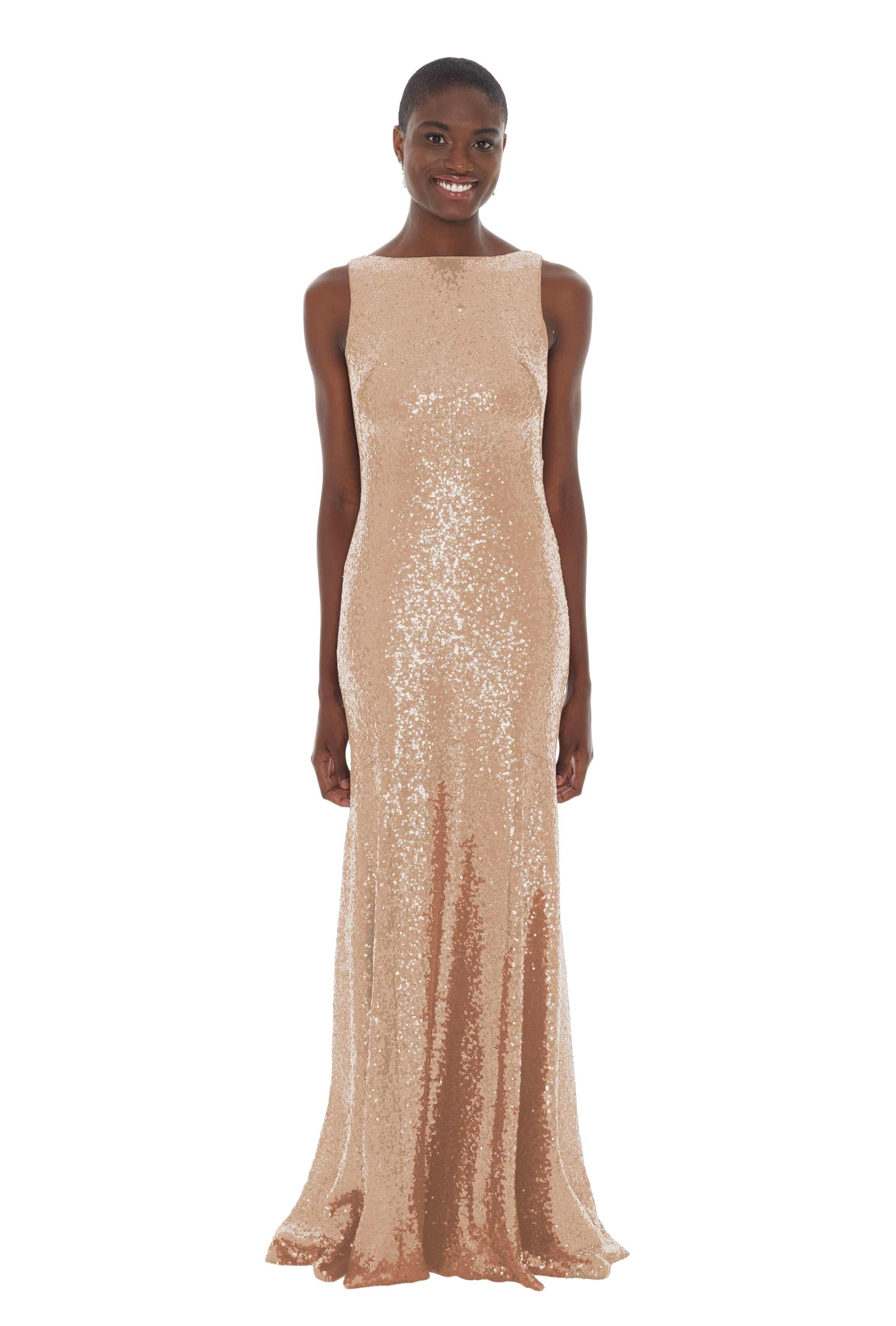 sequin high neckline bridesmaid dress