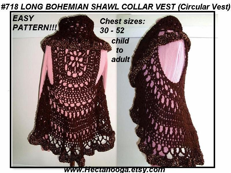 Crochet circle pattern crochet pattern 718 long sewing ideas crochet pattern 718 long bohemian vest shawl collar by hectanooga dt1010fo