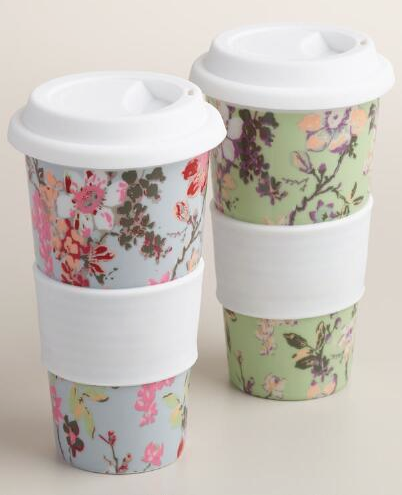 682cf63d02e pretty floral travel mugs | Gifts for the Hostess | Reusable coffee ...