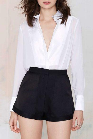 plain high waisted shorts