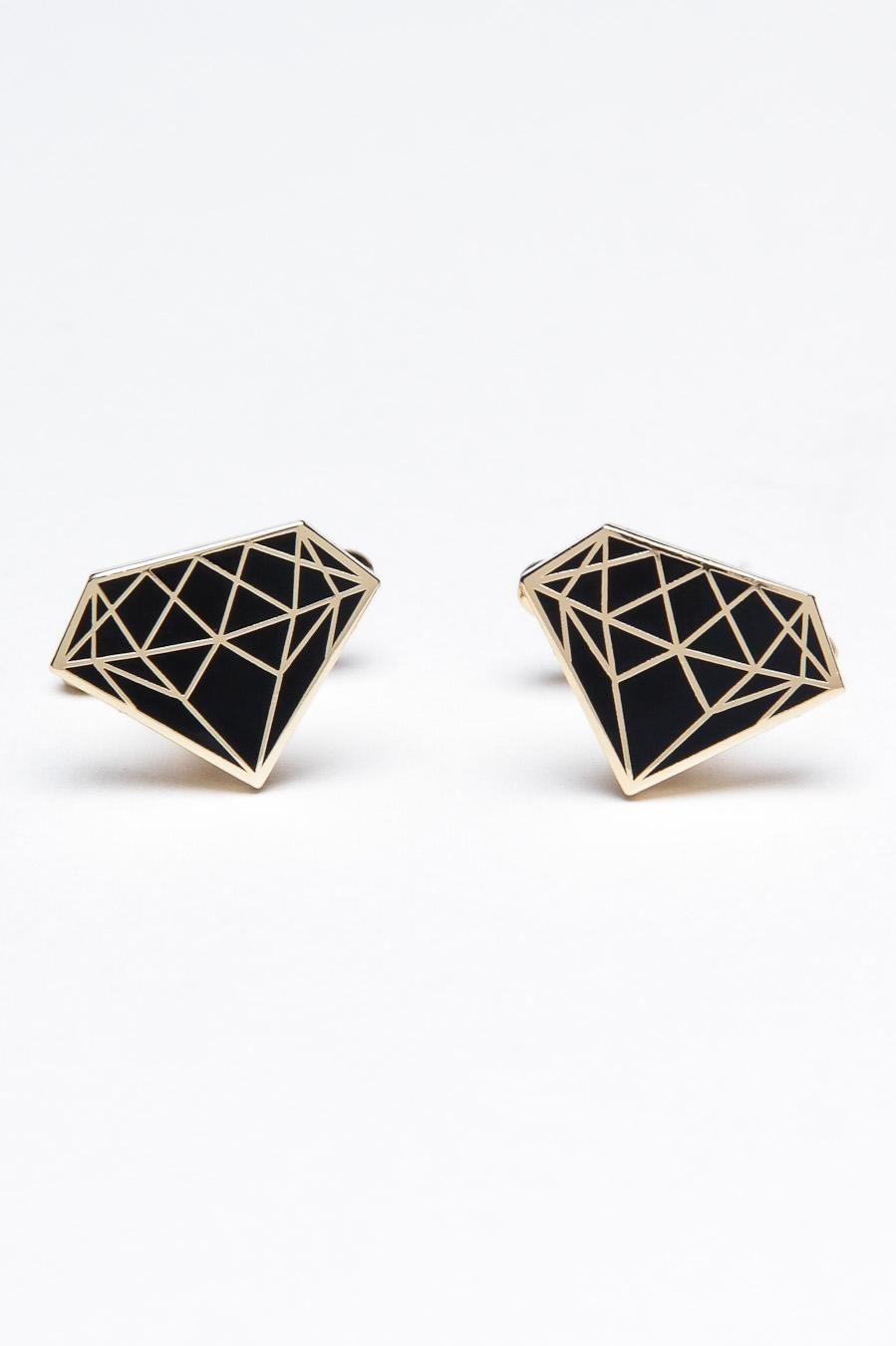 Carat Cufflinks Geometric Design Black Gold Diamond For Him