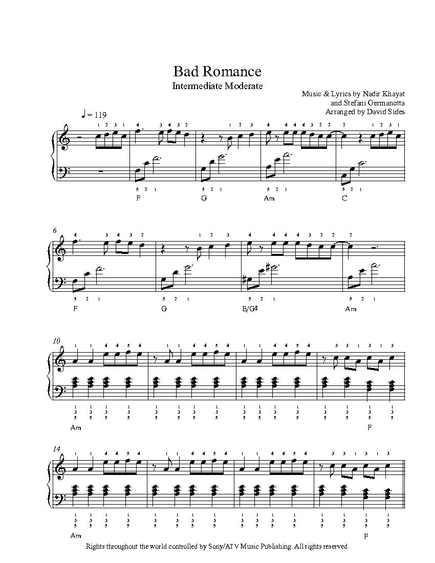 Bad romance by lady gaga piano sheet music intermediate level bad romance by lady gaga piano sheet music intermediate level hexwebz Choice Image